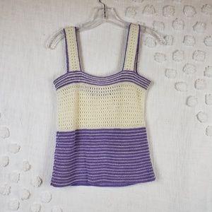 Vintage Purple & White Knit Tank Top M